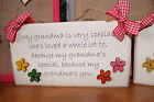 Handcrafted Wooden personalised plaque sign Grandma Nan Gran Mum Gift present.
