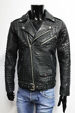 ITALIAN HANDMADE MEN LEATHER SLIM FIT BIKER JACKET CROCODILE BLACK SIZE L