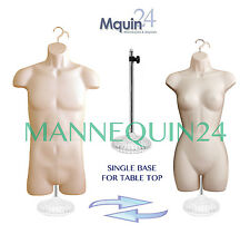 SET of 2 MANNEQUIN FORMS +1 STAND +2 HANGERS FLESH HIP LONG BODY MALE & FEMALE