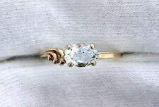 10Kt REAL Yellow Gold 7x5 Oval Light Blue Aquamarine Gem Gemstone Ring Size 5.5