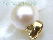 8.3mm AAA+++ perfect round white akoya pearl pendant 14k solid yellow gold gift