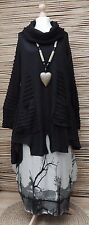 LAGENLOOK*MB GERMANY*WOOL MIX BEAUTIFUL A-LINE 2 POCKETS TUNIC/JUMPER*BLACK*L-XL