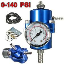 Universal Blue Fuel Pressure Regulator Gauge Kit Adjustable 0-140 PSI