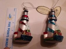 Vintage Retro Glass Lighthouse Ornaments - Set of 2 Midwest CBK  Christmas