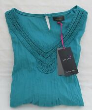 LADIES MARKS AND SPENCER PER UNA TURQUOISE CRINKLE 3/4 SLEEVE TOP SIZE 20