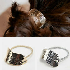 1Set Women Gold + Silver Leaf Scrunchie Hair Rope Elastic Bands Ponytail Holder