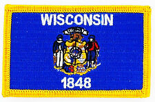 AUFNÄHER Patch FLAGGEN flagge WISCONSIN USA STAATEN flag Fahne 7x4.5cm