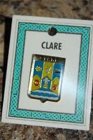County CLARE Irish PIN LAPEL Coat of Arms - Crest - Clip Badge - Brooch Ireland