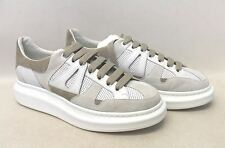 ALEXANDER MCQUEEN Men's White Leather Beige Suede Platform Trainers UK11 EU45