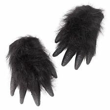 Adult Black Hairy Gorilla Halloween Hands Fancy Dress Costume Gloves BA104