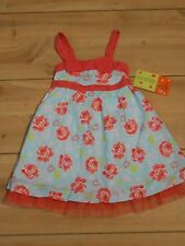PENELOPE MACK Girl's Coral and Blue Floral Sleeveless Dress Size 18 mo NWT