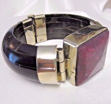 Tara Mesa 97.74 CT Rough Ruby & Black Bone Bangle Bracelet German Silver NIB