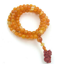 108 Orange Gemstone Tibet Buddhist Prayer Beads Mala Necklace Pi Xiu Pendant