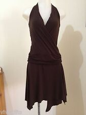 PORTMANS brown stretchy halter dress with crossover front size S (10)