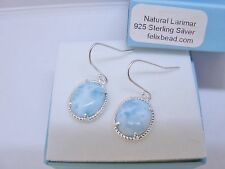 Larimar 100% Natural 10X12mm Oval 925 Sterling Silver Dangle Earrings. PROMOTION