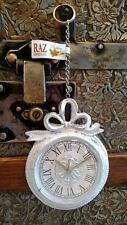 NWT RAZ Antique White Silver SANTA'S POCKET WATCH & chain CHRISTMAS ORNAMENT #C