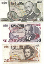 1984-1986 AUSTRIA 20, 50 & 100 SCHILLING ~ CIRCULATED // VF to XF [RARE ITEM]