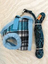 Dog (cat) Harness and leash Korean Check Blue or White US SELLER