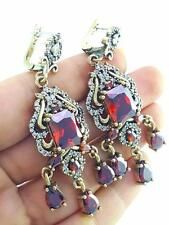TURKISH HANDMADE JEWELRY 925 Sterling Silver Antique Ruby Earrings E2576