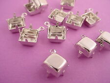 Silver Tone Square Prong Settings 8mm 1 Ring Closed Back - 18 Pieces
