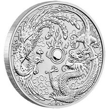 DRAGON & PHOENIX - 2017 1 oz Pure Silver BU Coin in Cap - Perth Mint