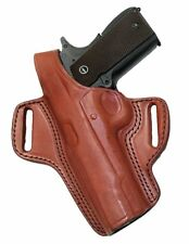 "Left Handed Colt 1911 Pistol & Clones Holster 5"" Barrel Brown Leather Retention"