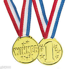 Lot of 60 #1 Winner Medals First Place Ribbons Party Favor Plastic Gold Award