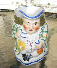 fine antique hand painted Staffordshire John Bull toby pottery jug
