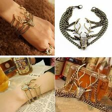 Retro Jewerly Full Rhinestone Mysterious Deer Head Bracelet for women bangles a