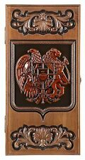 WOODEN BACKGAMMON BOARD GAME SET CARVED COAT OF ARMS OF ARMENIA  ASH TREE WOOD