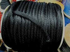 """ANCHOR ROPE DOCK LINE 3/4"""" X 100' BRAIDED 100% NYLON 10400lb BLACK MADE IN USA"""