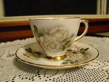 Delphine Bone China England Porcelain White Roses Tea Coffee Cup & Saucer Set