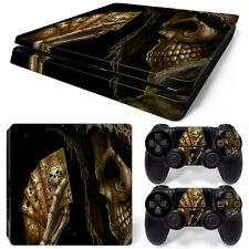 Sony PS4 Playstation 4 Slim Skin Aufkleber Schutzfolie Set - Poker Skull Motiv