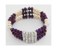 Lot 6 Wholesale Iridescent AB Crystal Rhinestone & Faux Pearl Stretch Bracelets