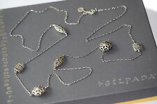 "Silpada Long ""First Flurry"" Etched Bead Necklace Sterling Silver 36"" N2429"