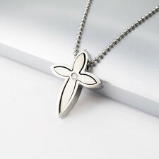 Silver Chrome Stainless Steel Cross Pendant Ball Chain Tribal Necklace NEW