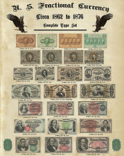 Complete Fractional Currency Type Set Au or Better notes Antique Paper 16x20""