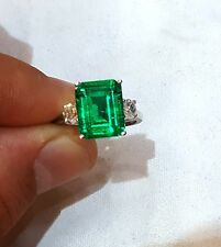 14K WHITE GOLD RING 3.58CT.  GEM COLOMBIAN GREEN EMERALD IN EMERALD SHAPE