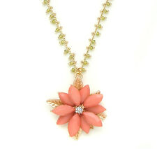 John Wind Necklace Garden Party Coral Flower Lime Seed Bead Maximal Art Jewelry