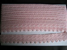 CRAFT-SEWING-LACE  2mtrs x 35mm Pink Cotton Crochet Look Lace