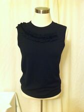 COMME Des Garcon SS Black Velvet Ribbon Enbellished Crew Neck Top