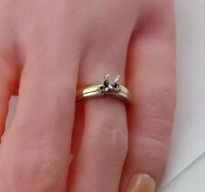 Platinum 18k yellow gold solitaire ring setting cathedral semi mount estate sz 6