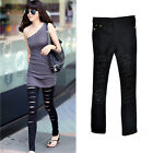 Fashion Women Black Sexy Ripped Punk Skinny Cut Out Jeans Pants Jeggings Trouser