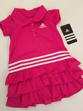 Adidas Baby Girl Ruffle Tennis Polo Dress Hot Pink White Size 6 months