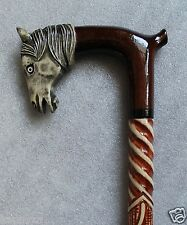 HORSE HEAD Awesome Handcrafted Hand Carved Wooden WALKING STICK Cane Сollection