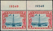 #C-11  TOP PLATE NUMBER PAIR 1927 5c BEACON ISSUE MINT-OG/LH
