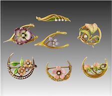 Antique Art Nouveau 7 Pin Lot 14K Enamel Honeymoon Wishbone Pansy Lotus Flower