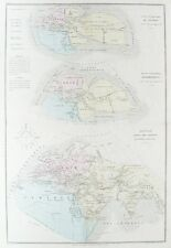 OLD ANTIQUE MAP WORLD ANCIENT MONDE c1850's by BELIN / DRIOUX / LEROY
