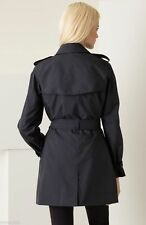 Auth BURBERRY BRIT New Check Black Trench Coat Jacket REMOVABLE WOOL LINER Sz 10