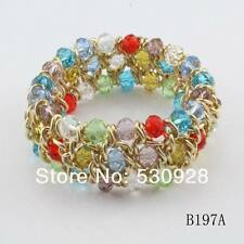 Multi Color Faceted Glass Bead Gold Tone LinkStretch Bracelet
